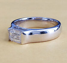 14K WHITE GOLD EMERALD CUT MOISSANITE AND DIAMOND ENGAGEMENT RING 1.00CT