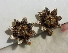 BIJOU ANCIEN BOUCLES D'OREILLES CLIP FLEUR OR DE TOLEDE TOLEDO vintage earrings