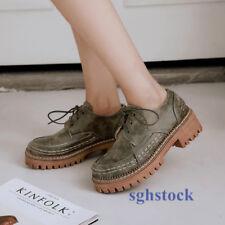 2019 Elegant Woman Retro Round Toe Brogue Lace Up Block OL Office Pumps Shoes