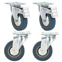 4PCS 100mm Roulettes pivotantes en caoutchouc Frein à roulettes 600KG