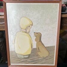 Carolyn Stallwitz Limited Edition Print Friends Boy and Dog Signed Framed 1966