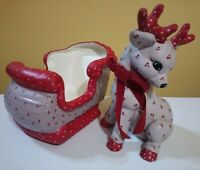 Vintage Ceramic Hand Painted Kimple Mold Christmas Reindeer and Sleigh - 2 pc.