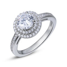 Engagement Wedding Ring For Women Halo 1.4ct Round Cz 925 Sterling Silver Sz 10