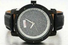 Mens Black Jo Jino Platinum Diamond Watch 0.10ct Leather Big Face Hip Hop Iced