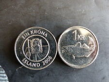 Pièce monnaie ISLANDE ICELAND 1 KRONUR 2006 cabillaud morue cod NEUF UNC NEW