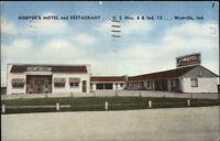 Westville IN Hoover's Motel & restaurant Hwy 6 & 13 Linen Postcard