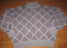 Ungaro Uomo Paris Men's Sweater Roll Neck Wool Geo Print Gray size X Large