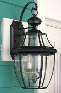 Quoizel NY8317Z Newbury 2-Light Outdoor Wall Lantern, Medici Bronze - 2 Pack!