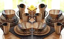 32 Piece Dinnerware Set Square Dishes Stoneware Plates Bowl Kitchen Mugs Brown