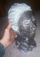 """Vintage Hand Made Clay Bust Head Of Young Girl 15lbs. (12""""x 9"""" x 6"""") Sculpture"""