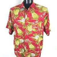Vintage HANA Mens XL Pineapple Palm Tree Retro Aloha Hawaiian Print Shirt