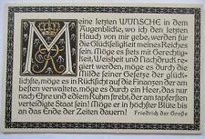 Klingspor Patriotik, Sprüche, Friedrich der Große, Meine letzten Wünsche (11856)