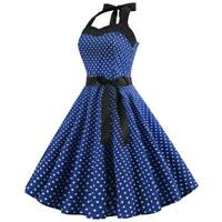 Vintage women Party Sleeveless Polka Dot Summer Swing halter Dress Dresses Retro