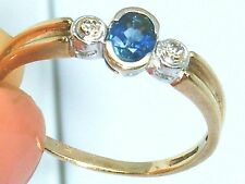 9ct Gold 9k Gold Diamond & Ceylon Sapphire trilogy ring size S Hallmarked,Boxed