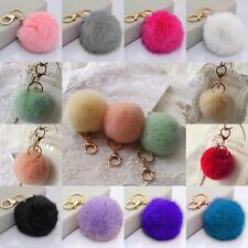 HOT New Real Rabbit Fur Ball PomPom Car Phone Keychain Handbag Charm Key Ring*