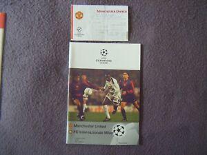 1999 Champions League Qtr Final - Man United v Inter Milan - Program & Ticket ++