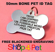 Dog ID Tags LARGE 50mm Aluminium PET Tag Engraved Free with Blackened Engraving
