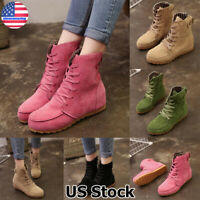 Women Faux Suede Flat Ankle Boots Casual Lace Up Combat Biker Booties Shoes Size