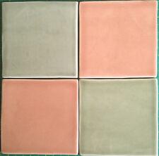 Handmade tile sample, 10cm SC Coral, made in  U.K.