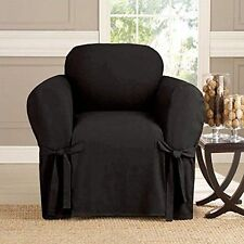 """Kashi Home Microsuede Furniture Slipcover Chair 41"""" X 57"""" Black Protection"""