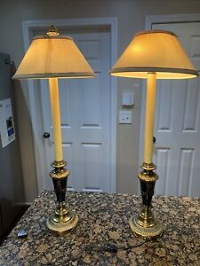 2 Buffet Table Lamps Vintage w/ Shades Traditional, Art Deco, Empire Brass