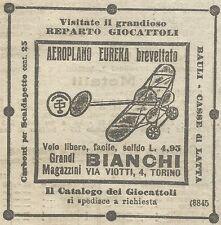 W6464 Aeroplano Eureka - Magazzini Bianchi - Pubblicità 1916 - Advertising