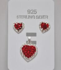 Echt 925 Sterling Silber Zirkonia Set mit SWAROVSKI ELEMENTS Herz rot Nr 313