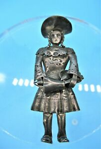 Vintage Handmade Sterling Silver Amish Girl Brooch