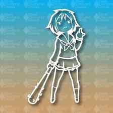 "Anime Girl Middle Finger Bat Laptop Hentai Vehicle 6"" Custom Vinyl Decal JDM"