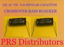Capacitor 100 uF 100 Volt Bipolar Bass Blocker Speaker Tweeter Crossovers 1 Pair