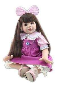 24'' Toddler Reborn Doll 60cm Big Girl Soft Vinyl lovely Long hair Babies Toys