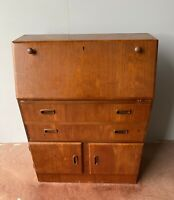 VINTAGE RETRO MID CENTURY BUREAU WRITING DESK CUPBOARD HOME OFFICE UK DELIVERY