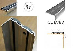 ALUMINIUM STAIR NOSING EDGE NON-SLIP WITH BLACK RUBBER L-90cm  48x24mm