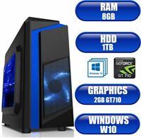ULTRA FAST Quad Core Gaming PC Tower WIFI & 8GB 1TB HDD & Win 10 + 2GB GT710