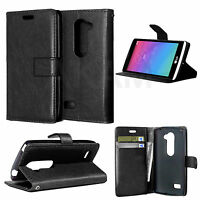 PU Leather Book Wallet Magnetic Flip Case Cover For LG Leon 4G LTE H340N Black