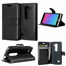 PU Leather Book Wallet Magnetic Flip Case Cover For LG Leon 4G LTE H340N Black