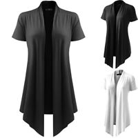 Women's Soft Drape Cardigan Short Sleeve Smock Sun Wear Blouse Tops Clothes