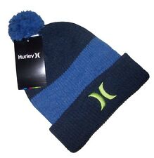 GIFTS FOR MEN Hurley Mens 9A6024 Beanie Pom Pom Bobble Ski Hat Blue One Size