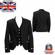 100% WOOL Scottish Argyle Kilt Jacket-WITH FREE WAISTCOAT