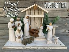 STABLE WOOD CRECHE Reclaimed Fits Willow Tree Angel Nativity Distressed Manger