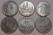 COINS SET 3 x 2 ZL ZLOTYCH POLAND 1936 1934 1932 SILVER COINS 3 PCS.
