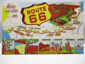 """1990 LTD. ED. MAP POSTCARD """" HERE WE ARE ON ROUTE 66 """" MAIN STREET OF AMERICA """""""