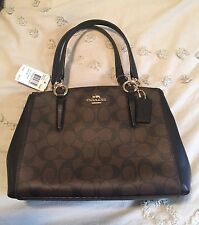NWT Authentic Coach Mini Christie Carryall in Signature F36718  Brown/Black