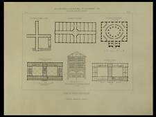 PLANS BIBLIOTHEQUES - 1849 - GRAVURE ARCHITECTURE, MUNICH OXFORD CARLSRUHE