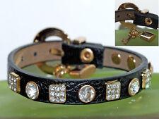Armband Leder schwarz Lederarmband Kristall Schlüssel Schloß Bettelarmband