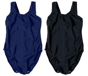 Girls Ladies Plain Swimming Swim Costume Swimsuit School Casual 4-13 Yrs SC3154
