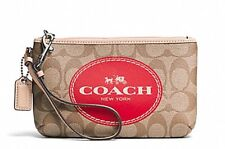 NWT COACH F51783 Carriage Signature Wristlet Purse Clutch KHAKI RED VERMILLION
