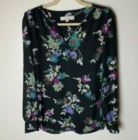 Loft Women's Top Size XS Popover Blouse Floral Long Sleeves Casual Work Career
