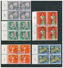 SWITZERLAND HELVETIA 1962 PRO JUVENTUTE SET 5 IN BLOCKS OF 4 MARGINS FINE USED
