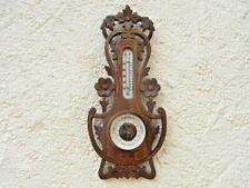 Jugendstil Holosteric Barometer Holz geschnitzt Thermometer um1910 Wetterstation
